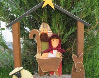 LARGE NATIVITY for Christmas, holiday, Noel, baby jesus, donkey and home decor