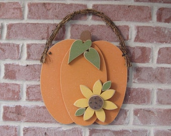 Large HANGING PUMPKIN With SUNFLOWER for Fall, Autumn, harvest, wall and door hanging decor