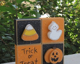 HALLOWEEN THEMED SQUARE Blocks with jackolantern, candy corn, ghost and trick or treat sign for Fall, October, shelf, office and home decor