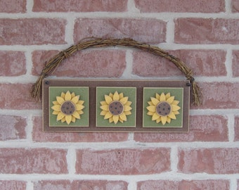 HANGING TRIPLE SUNFLOWER for wall, door hanging, Summer, Spring, Fall and home decor