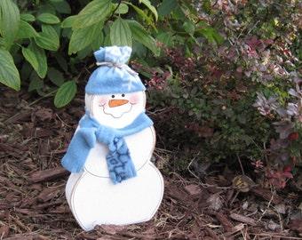 READY TO SHIP Snowman block  for desk, shelf, mantle, holiday, December, Winter, xmas, noel, home decor