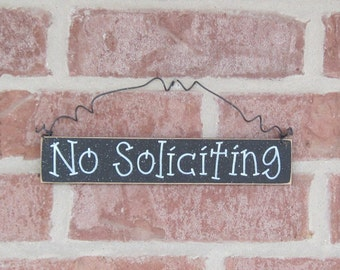 Free Shipping - NO SOLICITING SIGN (black) for home and office hanging sign