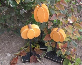 3 Tall Standing PUMPKIN BLOCK SET for Halloween, October, Fall, Autumn, shelf, desk, office and home decor