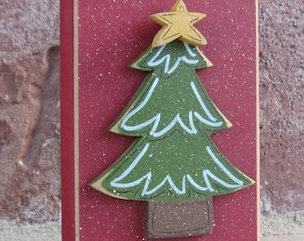CHRISTMAS TREE BLOCK for Noel, shelf, desk, office, mantle and home decor