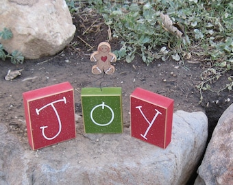 CHRISTMAS JOY BLOCKS for home, desk, shelf, mantle, holiday, noel, gingerbread decor