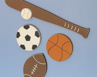 Hanging Basketball, Football, Baseball, and Soccer SPORTS SET for boy, wall, sports theme room, man cave, and bedroom home decor