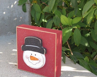 RED SNOWMAN FACE Block for Christmas, Winter, Noel, shelf, desk, office, mantle and home decor