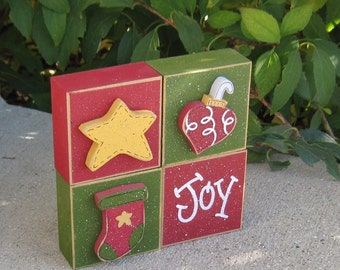 4 BLOCK CHRISTMAS Themed SET with a star, stocking, ornament, and Joy for desk, shelf, mantle, holiday, December, xmas, noel, home decor
