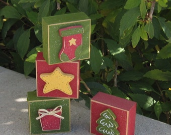 4 BLOCK CHRISTMAS themed SET with a tree, stocking, present, and star for desk, shelf, mantle, holiday, December, xmas, noel, home decor