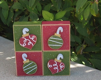 4 BLOCK ORNAMENT SET for desk, shelf, mantle, holiday, December, xmas, noel, home decor