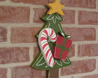 HANGING CHRISTMAS TREE with candy cane, star, and present for wall, door, holiday, December, xmas, noel, home decor