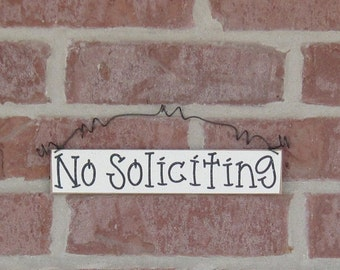 Free Shipping - NO SOLICITING SIGN (cream) for home and office hanging sign