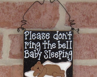 Free Shipping - Baby Sleeping sign with a sleeping bear for home and office hanging sign