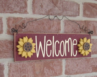 Free Shipping- Welcome sign with sunflowers (barn red) for home and office door hanging sign