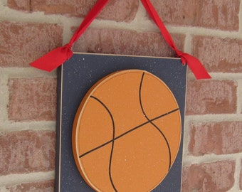 Large 10 inch HANGING BASKETBALL with red ribbon for boy, wall, door hanger, and bedroom home decor