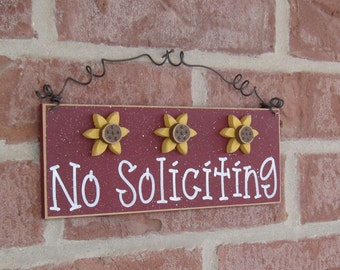Free Shipping - NO SOLICITING SIGN with 3 sunflowers (barn red) for home and office hanging sign