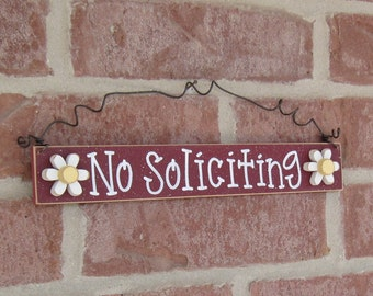 Free Shipping - NO SOLICITING SIGN with 2 daisies (barn red) for home and office hanging sign