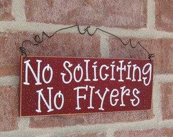 Free Shipping - NO SOLICITING No Flyers SIGN (barn red) for home and office hanging sign
