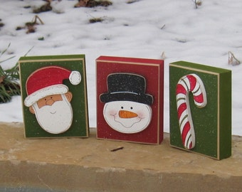 CHRISTMAS BLOCK SET for Christmas, holiday, shelf, desk, table, office, mantle and home decor