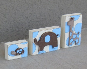 JUNGLE THEMED block SET for boy decor, shelf,  table, office, gift and home decor