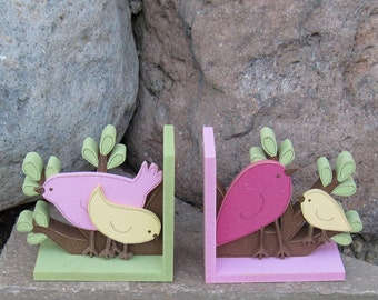 Birds and Branches bookends for children library, bookshelf