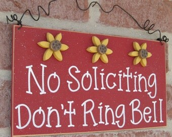 Free Shipping - No SOLICITING Don't Ring Bell Sign with 3 Sunflowers(red) for home and office hanging sign