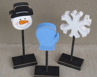 3 Tall Standing WINTER THEMED Block  SET with Snowman face, Mitten, and Snowflake for winter decor, shelf, desk, office and home decor
