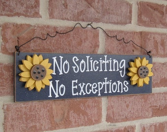 Free Shipping- NO SOLICITING No Exceptions with sunflowers sign (Navy Blue) for home and office hanging sign