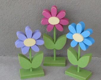 3 Tall Standing Flower Block Set for Spring decor, Flower decor, Girl room decor,  shelf, desk, office and home decor