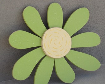 Large Whimsicle Lime Green DAISY for wall hanging bedroom or home decor