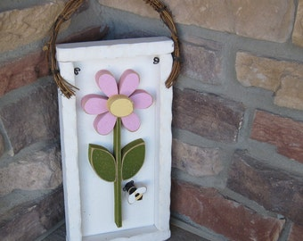 DAISY FRAME with stem(White Frame with Pink Flower)