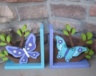 Butterfly and Branches bookends for children library, bookshelf