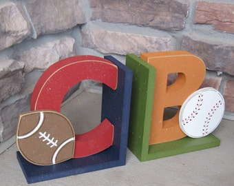 Personalized sports themed bookends for children library, bookshelf
