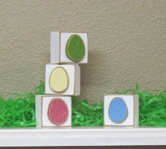 SQUARE BLOCKS with four Easter EGGS for Easter and home decor