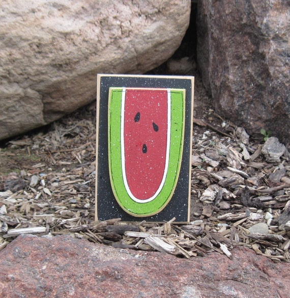TALL WATERMELON BLOCK for Summer, shelf, desk, office and kitchen home decor