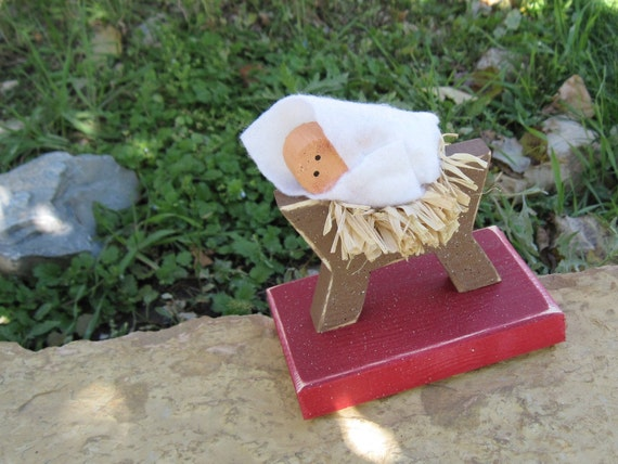 BABY JESUS in a MANGER for Christmas, holiday, Noel, mantle, shelf, desk, nativity, and home decor