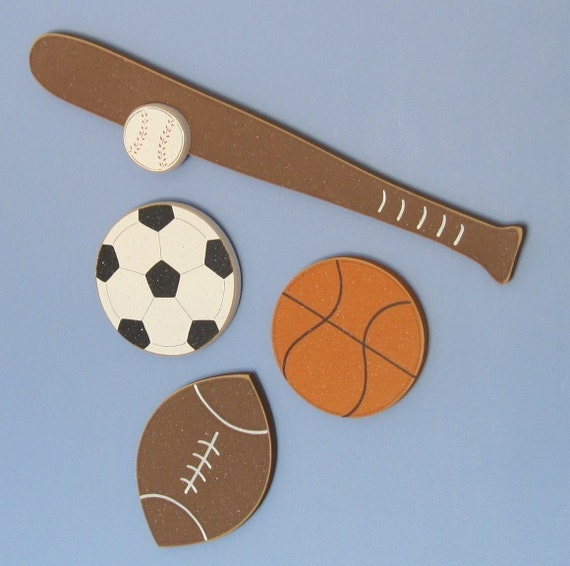 Wall Decorations Sports : Hanging basketball football baseball and soccer sports by