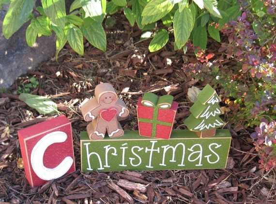 CHRISTMAS BLOCKS with gingerbread man, present, christmas tree, for desk, shelf, mantle, holiday, December, xmas, noel, home decor