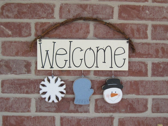Monthly welcome sign january for wall and home decor by for Home decorations for january