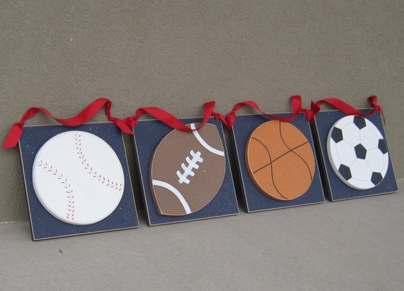 SPORTS BALL SET Large 10 inch Hanging with red ribbon for boy, football, soccer, baseball, basketball, wall, and bedroom home decor