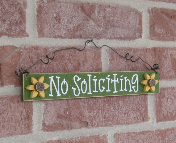 Free Shipping - NO SOLICITING SIGN with 2 sunflowers (Green) for home and office hanging sign