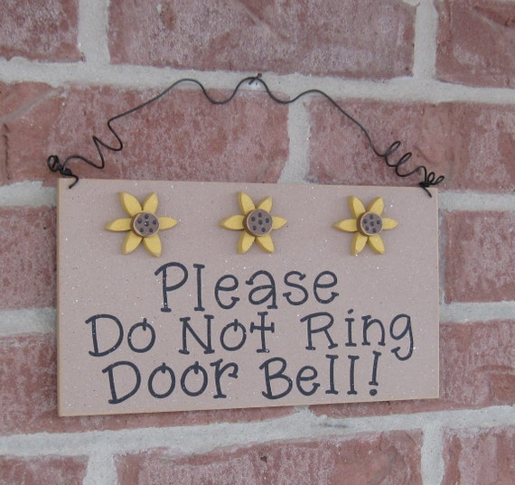 Free Shipping - Please Do Not Ring Door Bell Sign with 3 Sunflowers(beige) for home and office hanging sign