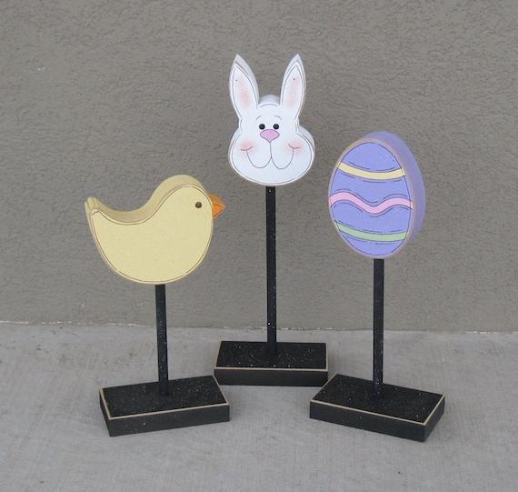 3 Tall Standing EASTER Themed Block SET for Easter decor,  shelf, desk, office and home decor
