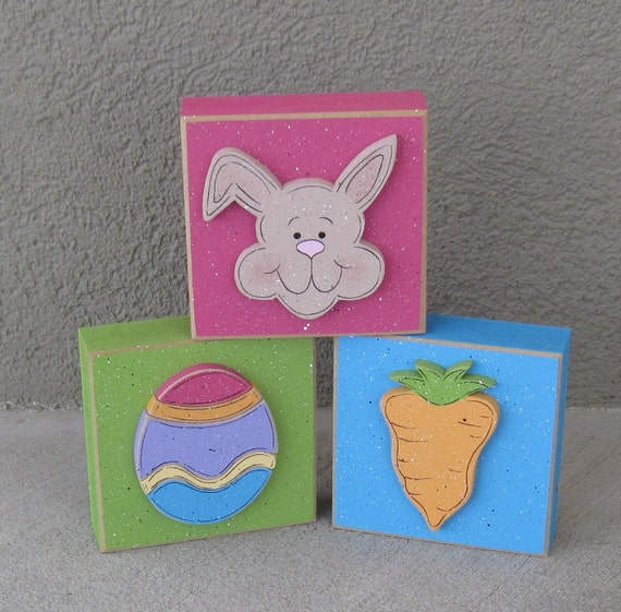 3 EASTER THEMED BLOCK Set for Easter, Spring and home decor