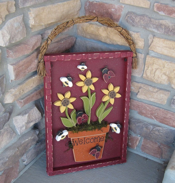 WELCOME FLOWER POT with sunflowers, lady bugs, and bees for home decor, door hanger,  with shadow box like frame