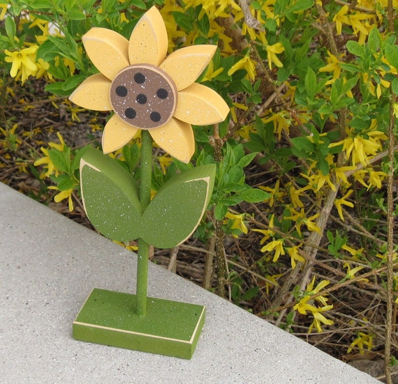Tall Standing Sunflower Block for Spring decor, Flower decor, Girl room decor, Sunflower decor, shelf, desk, office and home decor