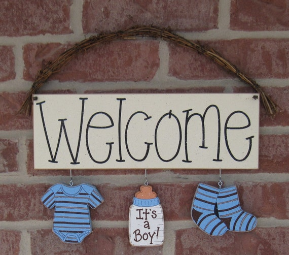 Welcome sign with its a boy decorations for announcing a baby for Baby welcome party decoration ideas