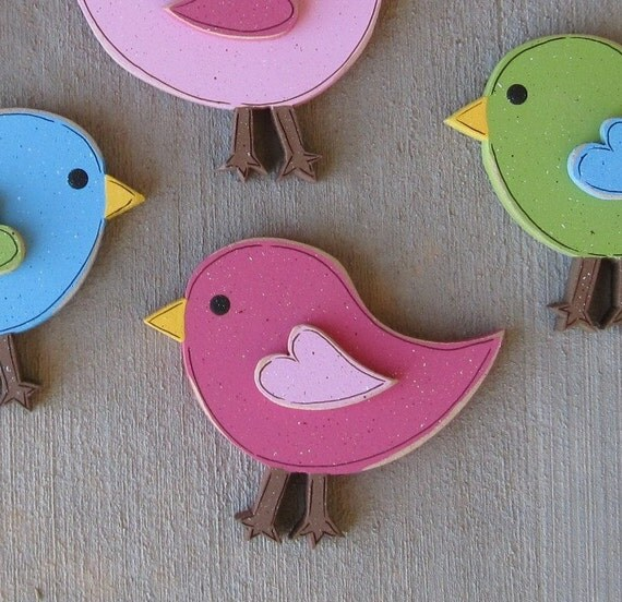 ONE four inch BIRD for wall hanging bedroom, home or girl room decor