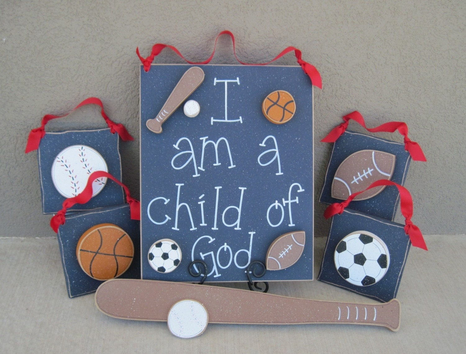 Sports Themed Room Decor: Set Of Sports Themed Boy Decor With A CHILD OF GOD By Lisabees