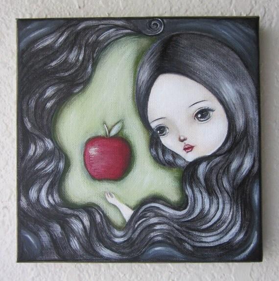 SALE-Original Acrylic Painting on Canvas-Snow White